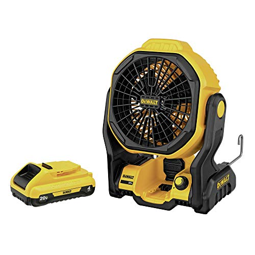 Dewalt DCE511B-DCB240-BNDL 20V MAX Cordless Lithium-Ion/Corded Jobsite Fan and 4 Ah Compact Lithium-Ion Battery