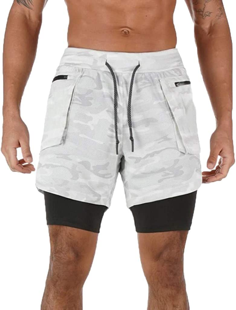 MODOQO Men's Fitness Remote Two-Layer Quick Drying Pants Fashionable Outdoor Shorts