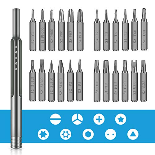 Mini Screwdriver Set,24 in 1 Precision Small Screwdriver Kit Magnetic Electronics Repair Tool with Aluminum Box for iPhone, iPad,Android, MacBook,PC,Laptop,Apple Watch,Switch, Xbox, PlayStation,Watch