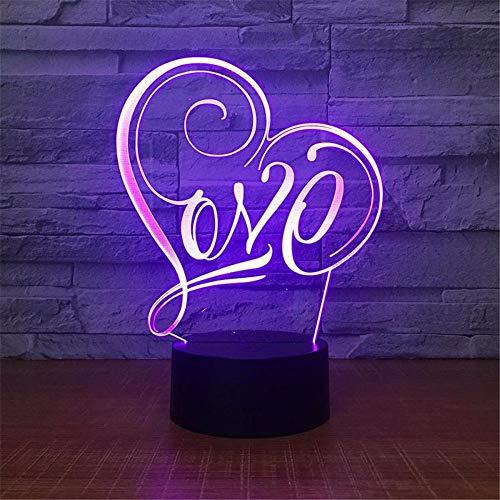 Dtcrzjxh Liebe Symbol Tisch 3D Lampe Acryl Schlafzimmer Nachttischlampe 3D Nachtlampe D Valentinstag Geschenk Usb Led Nachtlicht