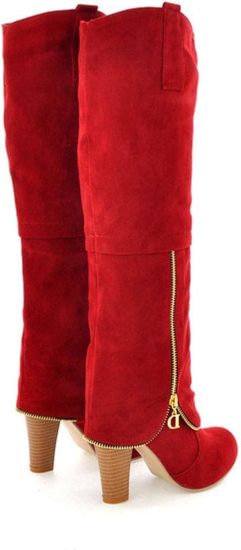 Women's Zipper High Boots, Matte Thick High Heel Thigh Boots Round Head Waterproof Platform Suede Knight Boots Non-Slip Warm Knee Boots