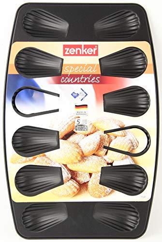 Zenker 7541 Plaque à 12 madeleines, plaque de cuisson pour madeleines, moule à madeleines anti-adhésif, Téflon, Noir, 26 x 39 x 1 cm
