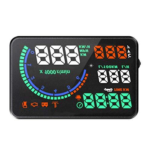 KKmoon Head Up Display, Auto HUD Display OBD2 & HUD Display GPS 5,5 Zoll mit MPH, Geschwindigkeitsmesser Auto, Tachometer, Wassertemperaturmesser Motordrehzahl Sicherheitsalarme