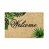 Felpudo Welcome Tropical Verde Exotico Fibra Coco Base PVC 60x40...