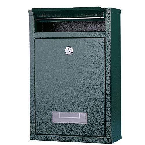 Bakaji Cassetta Postale da Parete in Acciaio Inox Buca Lettere per Posta da Esterno con Chiusura a Chiave (Verde)