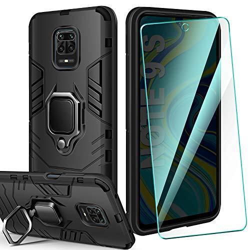 AROYI Funda Compatible con Xiaomi Redmi Note 9S/9 Pro/9 Pro MAX y Protector Pantalla Cristal Templado, Suave Armadura híbrida Robusta Silicona Case - Negro