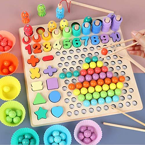 Montessori Juguete educativo, rompecabezas de madera 13 en 1, palos de educación temprana, rompecabezas con cuentas, juego de pesca magnético, manos para niños, ojos, entrenamiento cerebral