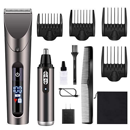 Hatteker Aparador de cabelo masculino sem fio para barba aparador de ouvido/nariz Aparador de cabelo profissional para corte de cabelo e kit de higiene para homens à prova d'água