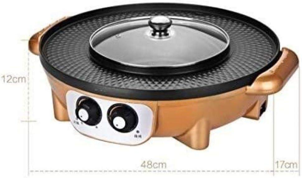 HengYue Gril électrique Plat De Cuisson électrique Antiadhésif électrique Multifonction 1350W sans Fumée Pot De Barbecue Deux en Un,Black Black