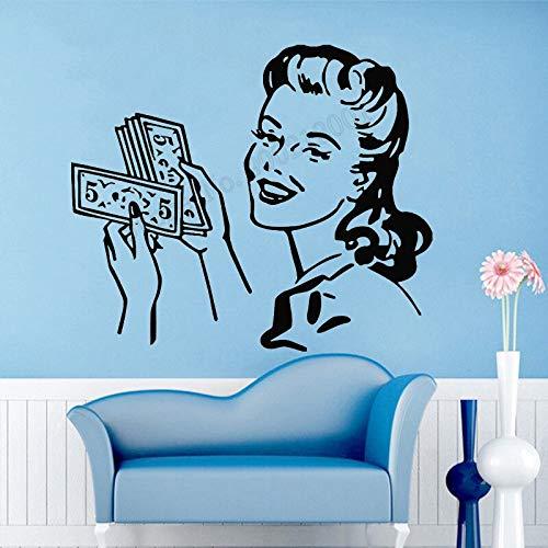 wZUN Styling Friseur Frisur Ankleidezimmer Art Deco Vinyl Abnehmbar Schöne Lange Haare Mädchen Home Decal 50x58cm