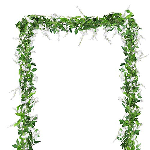 BELLE VOUS Künstliche Glyzinien Blumen Reben (4 Stück) - Länge 2m (6,6ft Jede Reben) - Weiß Fake Seide Abnehmbar Wisteria Blumen und Blätter für Garten, Zuhause und Hochzeits Blumendeko