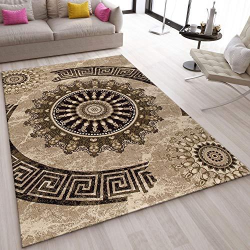 VIMODA Teppich Klassisch Wohnzimmer Schlafzimmer Gemustert Kreis sehr dicht gewebt Meliert Ornamente Muster in Braun Beige Schwarz - Top Qualität, Maße:50x80 cm