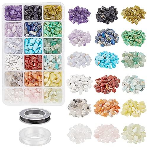 NBEADS 1 caja de cuentas de cristal, 18 chips de materiales, cuentas de piedras preciosas naturales con 2 rollos de hilo elástico para hacer joyas, manualidades, aproximadamente 5 ~ 8 mm x 5 ~ 8 mm