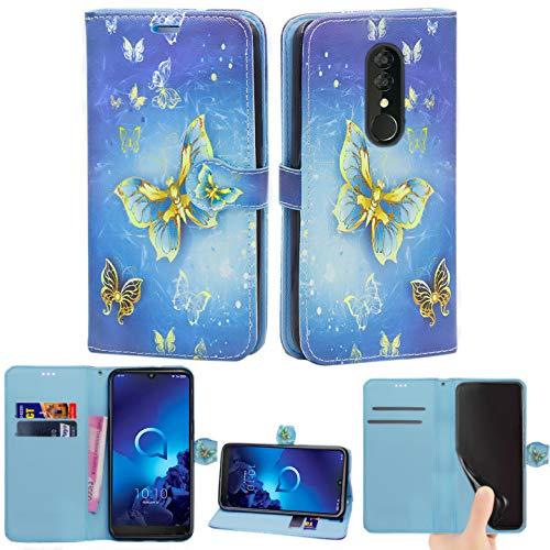 Hülle für Alcatel 3 / 3L (2019), Leder Magnetverschluss Flip Book Card Holder Wallet Stand View Schutzhülle für Alcatel 3 / Alcatel 3L 2019 (Butterfly Gold)