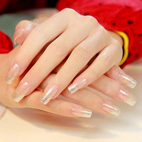 24PCS/set Falsche Nägel Transparent Französisch Künstliche Nägel Glitter Lange Nail Design