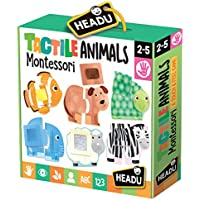 Headu- Táctil Animals Montessori Puzzle 1-4 años, Multicolor, IT20188