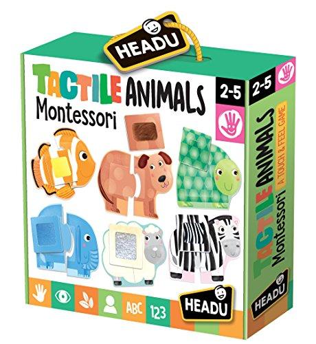 Headu- Táctil Animals Montessori Puzzle 1-4 años, Multicol