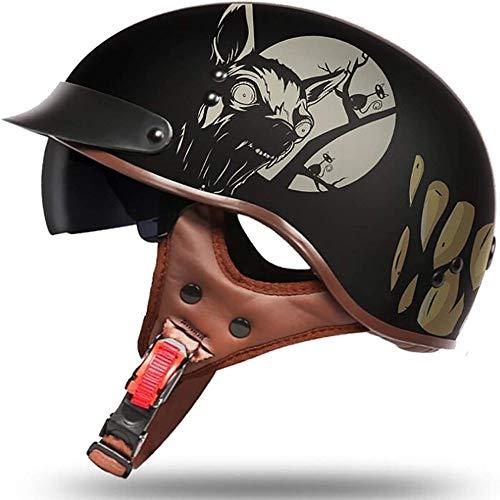 ZHXH Adult Kinderhut Motorrad Halbhelm Retro Erwachsenenhelm Motorrad Harley Schädel Halbhelm DOT zertifizierte männliche und weibliche dominante Art Fahrrad Roller Travel Street Halbhelm