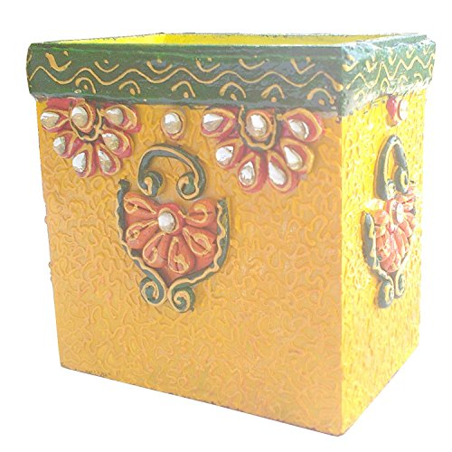 The Hue Cottage Porte-Stylet Decorative Organisateur de Bureau Stylo à Bois Jaune Se Dresse Indien Stylo Artisanal Titulaire fleuron des Articles de Cadeau