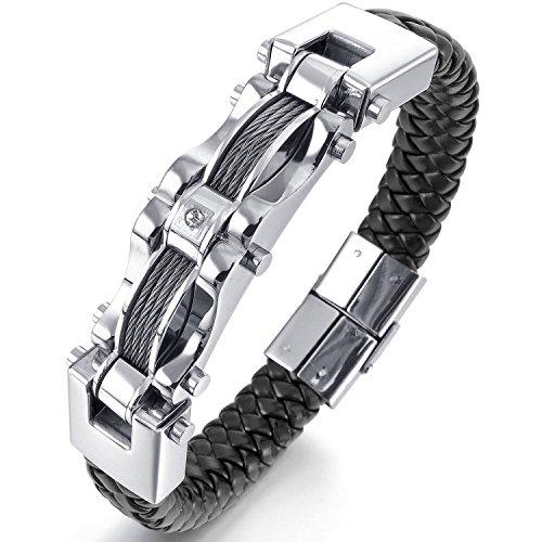 MENDINO–Pulsera de hombre estilo motorista, de alambre de acero inoxidable y cuero negro trenzado, bilateral, 21,6 cm