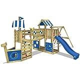 WICKEY Parque infantil de madera ArcticFlyer con columpio y tobogán azul, Casa de juegos de jardin con arenero y escalera para niños