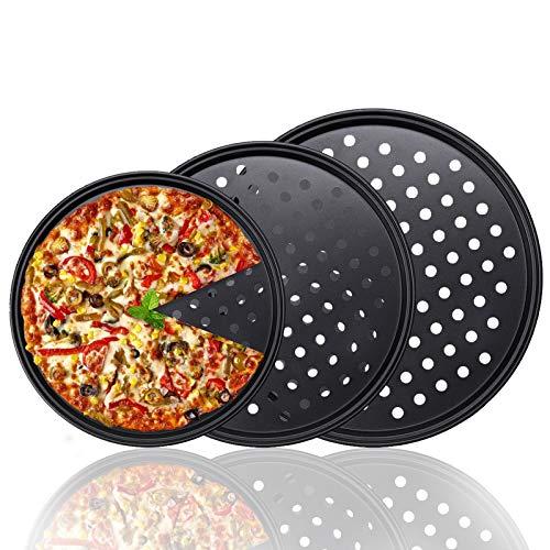 HomeMall Juego de 3 bandejas para pizza con agujeros para el horno, antiadherentes y perforadas, para uso en el hotel, 24,5 cm, 28 cm y 32 cm
