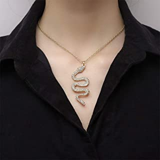 YERTTER Dainty Tiny Chain Iced Out Snake Pendant Choker Necklace Men Necklace Jewelry for Party Prom Vacation (Silver)