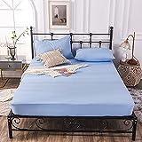 haiba Sábana bajera ajustable de algodón individual, sábana bajera ajustable de algodón, sábana bajera de satén suave de lujo, tamaño pequeño, sábana bajera ajustable, azul claro, 2 x 48 x 74 cm