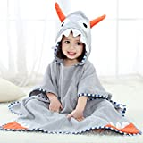 Newest Animal Hooded Baby Towel Cotton Bathrobe for Boys Girls 0-7 Year (Gray, 0-7 Year)