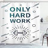 ABAKUHAUS Fitness Duschvorhang, Sport-Zitat-Hantel, mit 12 Ringe Set Wasserdicht Stielvoll Modern Farbfest & Schimmel Resistent, 175x200 cm, Lila Weiß Blau