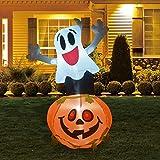GOOSH 5FT Inflatable Pumpkin Halloween Decorations Outdoor Blow Up Ghost with The Pumpkin Halloween Outdoor Yard Decorations