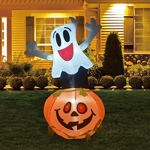 Indoor Outdoor Garden Halloween Decoration 6FT Halloween INFLATABLES Ghost with Pumpkin Head Halloween Inflatable Pumpkin Ghost with Pumpkin Yard Decoration