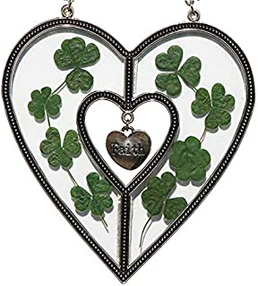 Faith Heart Suncatchers Glass Suncatchers for Windows Heart with Pressed Flower Heart - Glass Heart Suncatchers Gifts Gift for Birthdays St Patrick's Day Decoration Irish Gift in-Law Gift, Irish Famiy