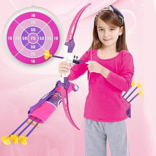 HGYYIO Kids Archery Toy Bring 3 Arrows, 1 Quiver, 1 Target, 1 Bow with LED Light Archery Set Suitable for Girls Over 4 Years Old Best Gift