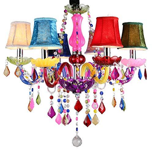 Fscm Kristall Kronleuchter Lüster Hängelampe mit Farbig Lampenschirm Leuchter Lampe Pendelleuchte Deckenlampe aus K9 Kristall, Acryl und E14 LED Lampenfassung, 30cm Höhenverstellbar Kette (6 Flammig)