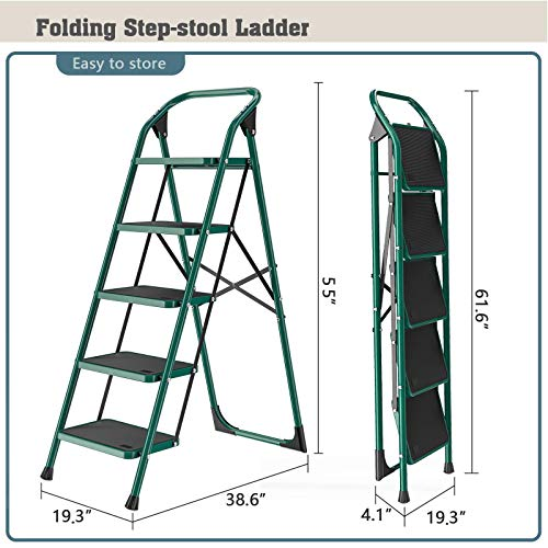 SUNCOO 5 Step Ladder, Folding Step Stool w/Non-Slip Rubber Feet, 330lbs Load Sturdy Steel Foldable Ladders, Lightweight Portable Stool Stairs, Multi-use Ladder Stand for Household and Office