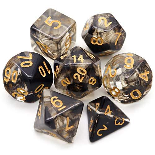 Haxtec 7PCS Black DND Dice Set Polyhedral D&D Dice of D20 D12 D10 D8 D6 D4 for Dungeons and Dragons TTRPG Games-Darkness