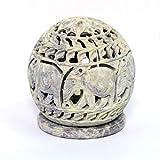 Indus Lifespace Soapstone Votive Tealight Holder con figuras de elefante y zarcillos tallados en el lado y una roseta en la parte superior 8,89 cm