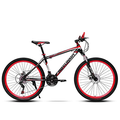 YUKM 24-Speed Mountain Bike, 24/26 Inch Wheels, Thick Shock Absorber, Sturdy Frame, Can Be Used in Various Terrains,Black red,26 inches