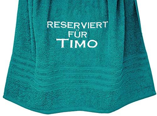 Lashuma Großes Handtuch 70 x 140 cm, mit Stick Reserviert für Wunschname, Farbe Nautic - Grün