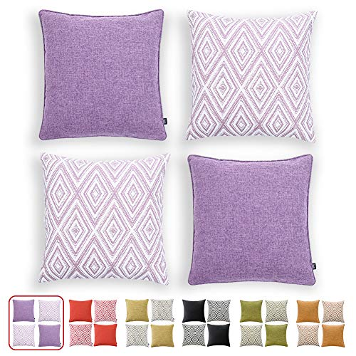 HPUK Decorative Throw Pillow Covers Set of 4 Geometric Design Linen Cushion Cover for Couch Sofa Living Room, 18'x18' inches, Lavender Mist