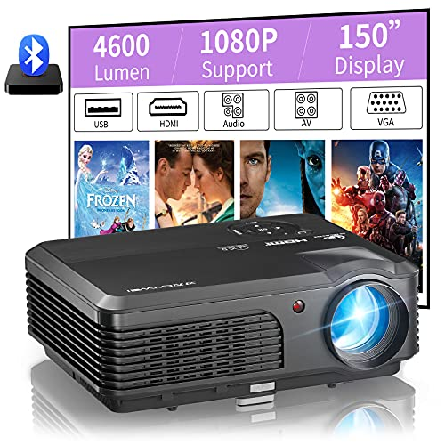 """LCD 4600 Lumen Video Projector Full HD 1080P Zoom Home Theater Cinema Gaming Projector 200"""" Display for Indoor Outdoor Movies,Compatible with HDMI iOS Android Phone PS5 Laptop TV Stick DVD Player PC"""