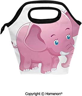 Insulated Neoprene Soft Lunch Bag Tote Handbag lunchbox,3d prited with Comic Safari Animals Toddler with Tusks Mammal Savannah Zoo Cartoon,For School work Office Kids Lunch Box & Food Container