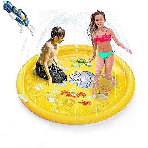 MOZX Splash Pad, 170 Cmtapete De Agua Chapoteo con Pistola De Agua De Juguete, Almohadilla Aspersor De Juego para Actividades Juegos Aire Libre, Juguetes Inflables De Agua para Bebés, Niños,Amarillo