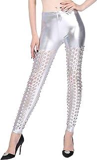 Sanwooden Comfortable Leggings Nightclub Women High Waist Ripped Scales Hole Leggings Faux Leather Skinny Pants Pants