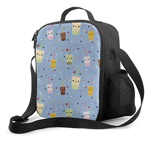 Leak-Proof Lunch Bag Tote Bag, Happy Boba Bubble Tea Cooler Bag Portable Carrying Lunch Box Bag for Adults and Kids to School Office Outdoor