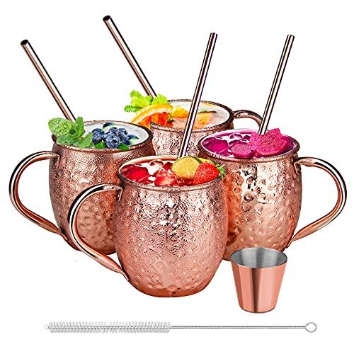 SDFZH Moscow Mule Becher Set, 4 Kupferbecher Cocktail Tasse für Kaltes Getränk, Wein, Bar, Party, Geschenkset mit 4 Strohalmen 1 Reinigungsbürste, 1 Jigger, 470ml, Zufälliges Geschenk 4 Untersetzer