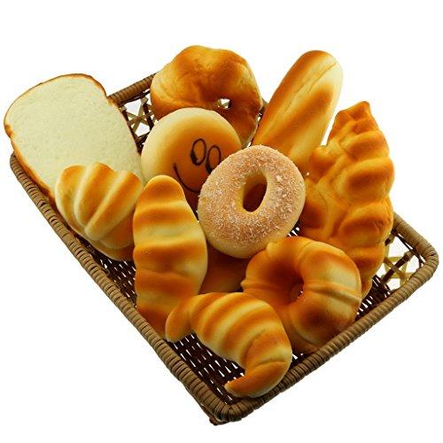 Gresorth 10 PCS Fake Cake Artificial Bread Set Bundle Platter Photography Props Kitchen Toy Decoration