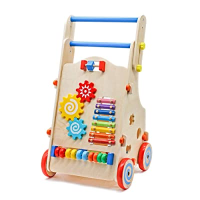 Adjustable Wooden Baby Walker Toddler Toys with...
