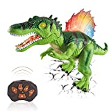 Dinosaurier Spielzeug Ferngesteuert Dinosaurier Leuchtend - RC Dinosaurier Elektrospielzeug mit LED Leuchten Augen, Gehen und Brüllen, Realistische Roboter Geschenk für Jungen Mädchen Kinder, Grün